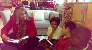 Dr. Reid & students discussing a Junior Great Books Series 2 story.